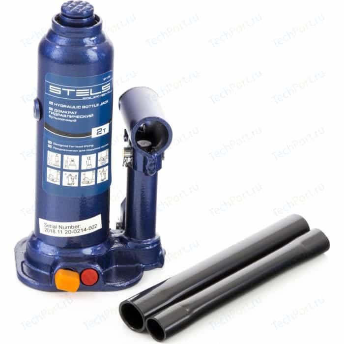 Домкрат гидравлический бутылочный Stels 2 т, h подъема 178-338 мм, в кейсе (51172)