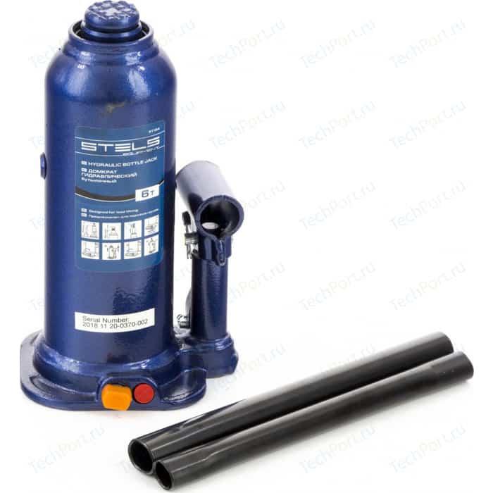 Домкрат гидравлический бутылочный Stels 6 т, h подъема 207-404 мм (51164)