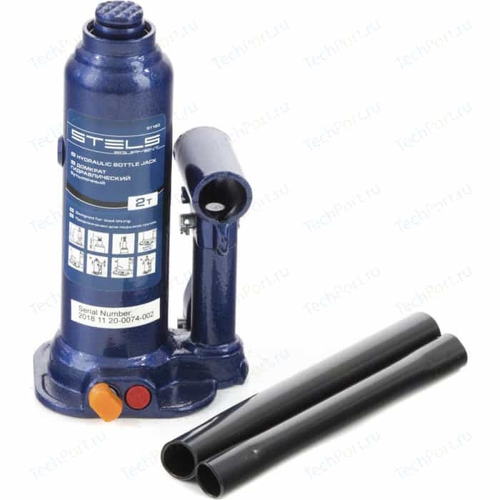 Домкрат гидравлический бутылочный Stels 2 т, h подъема 178-338 мм (51160)