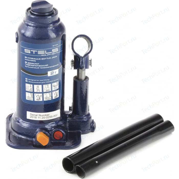 Домкрат гидравлический бутылочный Stels 2 т, подъем 170-380 мм (51144)