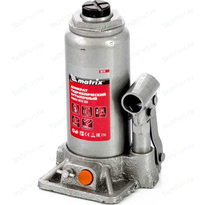 Домкрат гидравлический бутылочный Matrix 5 т, h подъема 197-382 мм, в кейсе (50776)