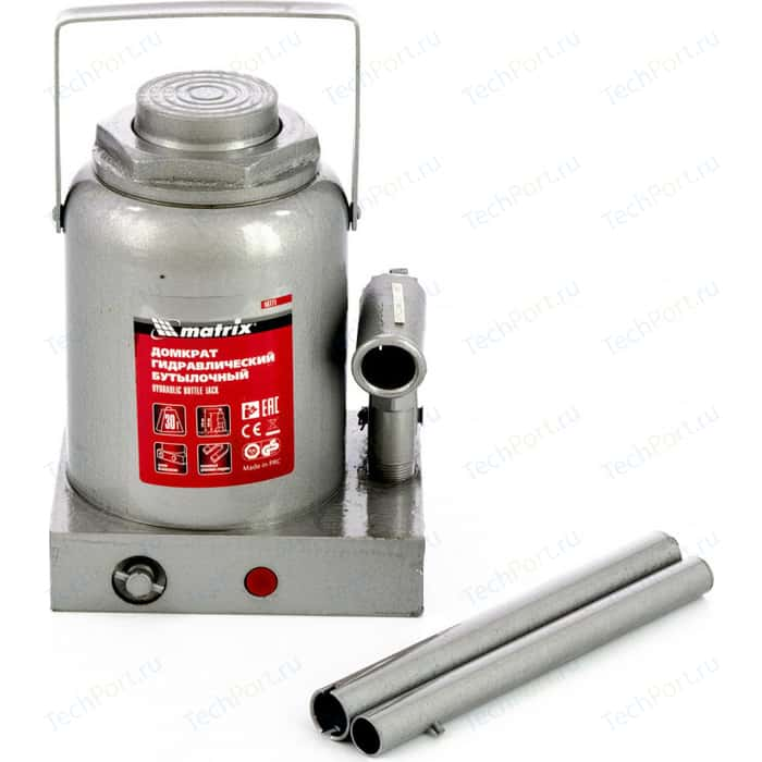 Домкрат гидравлический бутылочный Matrix 30 т, h подъема 244-370 мм (50771)