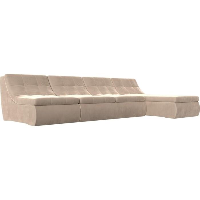 Фото - Угловой модульный диван Лига Диванов Холидей велюр бежевый угловой модульный диван лига диванов холидей экокожа бежевый