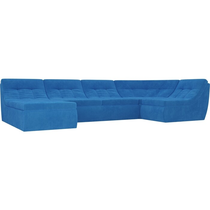 Модульный диван Лига Диванов Холидей велюр голубой п-образный