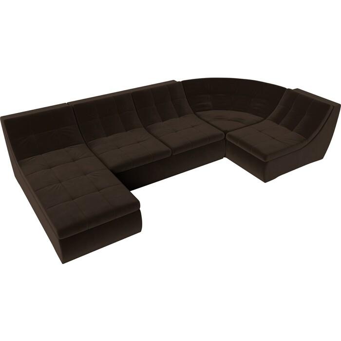 Модульный диван Лига Диванов Холидей микровельвет коричневый п-образный