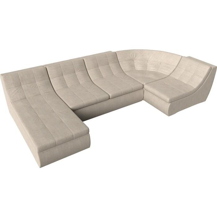 Модульный диван Лига Диванов Холидей рогожка бежевый п-образный