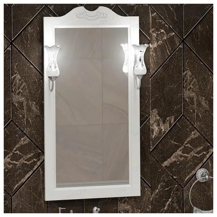 Зеркало Opadiris Клио 50 для светильников 00000001041, Z0000001408, белый матовый 9003 (00-00000211) зеркало в деревянной раме opadiris клио 65 антикварный орех для светильников 00000001041 z0000001408 z0000004272