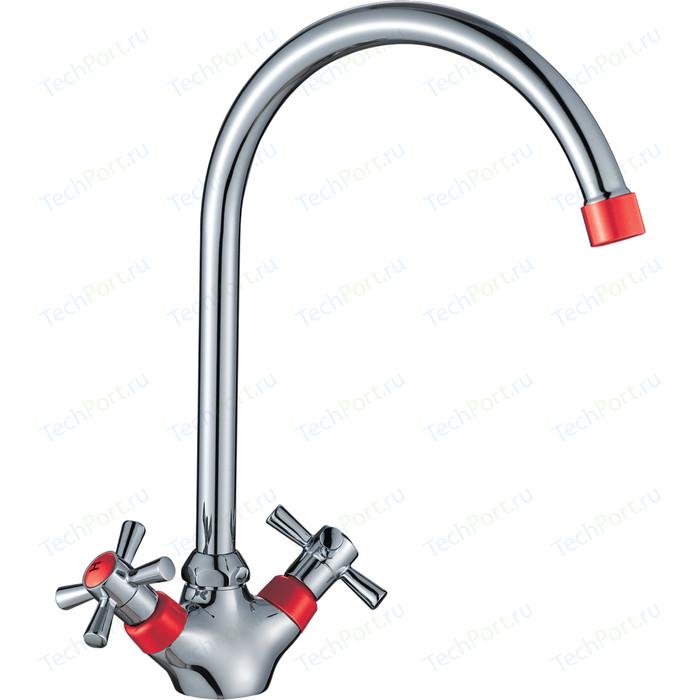 Смеситель для кухни Decoroom хром/красный (DR46028-Red)