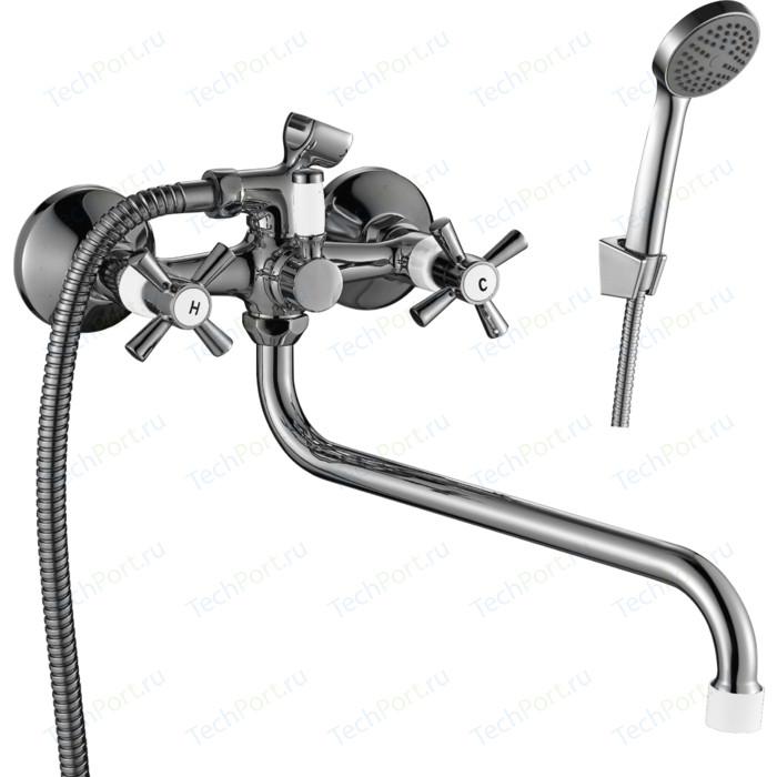 Смеситель для ванны Decoroom с душем, хром/белый (DR46045-White)