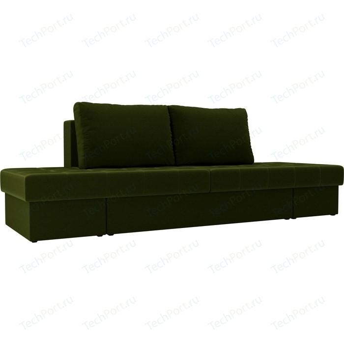 Диван трансформер Лига Диванов Сплит микровельвет зеленый