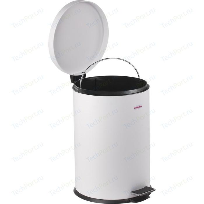 Ведро-контейнер для мусора (урна) с педалью Лайма Classic белое, глянцевое, металл, со съемным внутренним ведром, 12 л 604948