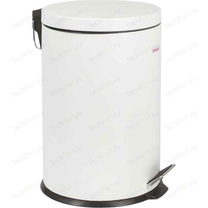 Ведро-контейнер для мусора (урна) с педалью Лайма Classic белое, глянцевое, металл, со съемным внутренним ведром, 20 л 604949