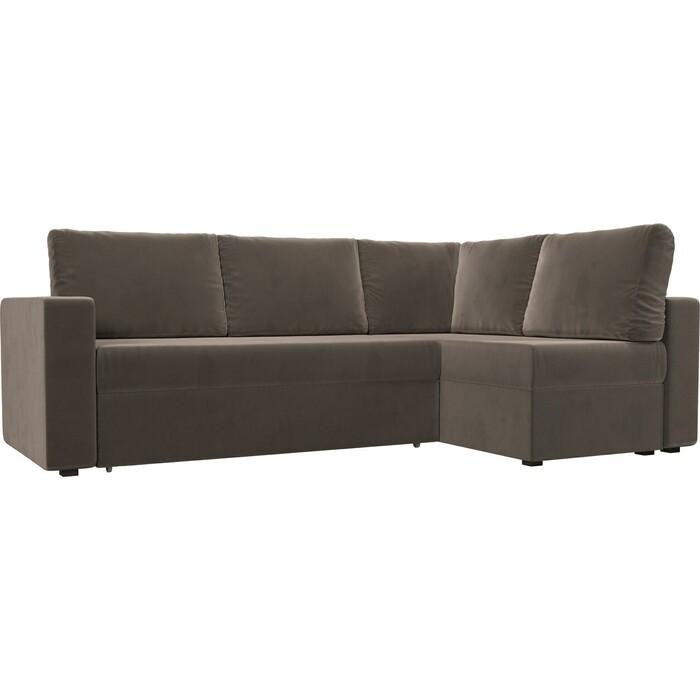 Фото - Угловой диван Лига Диванов Оливер велюр коричневый правый угол диван угловой лига диванов элис велюр коричневый с бежевыми подушками правый угол