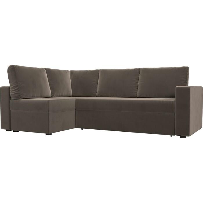 Угловой диван Лига Диванов Оливер велюр коричневый левый угол угловой диван лига диванов оливер экокожа коричневый левый угол