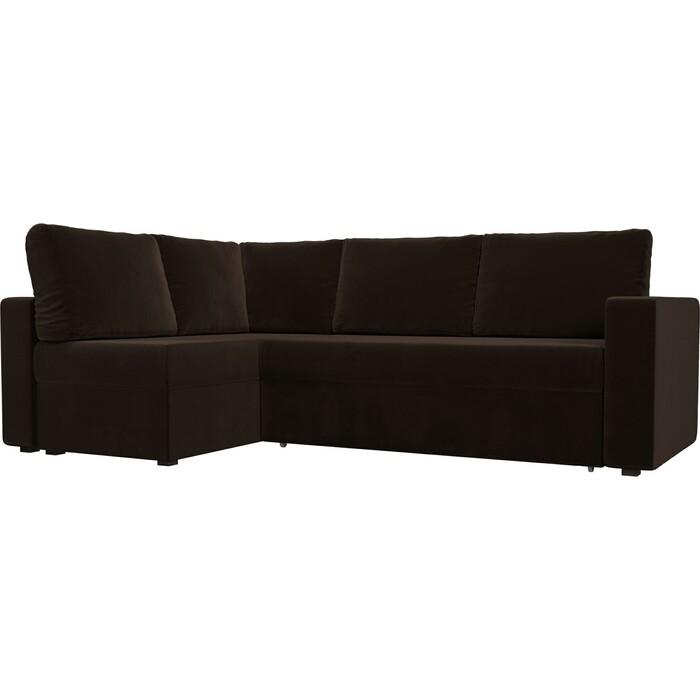 Угловой диван Лига Диванов Оливер микровельвет коричневый левый угол угловой диван лига диванов оливер экокожа коричневый левый угол