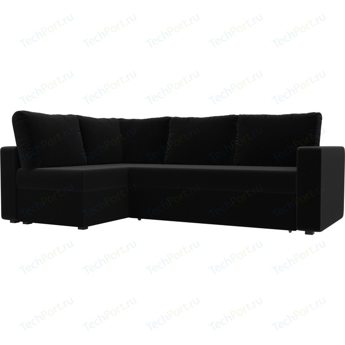 Фото - Угловой диван Лига Диванов Оливер микровельвет черный левый угол угловой диван лига диванов канзас микровельвет черный левый угол