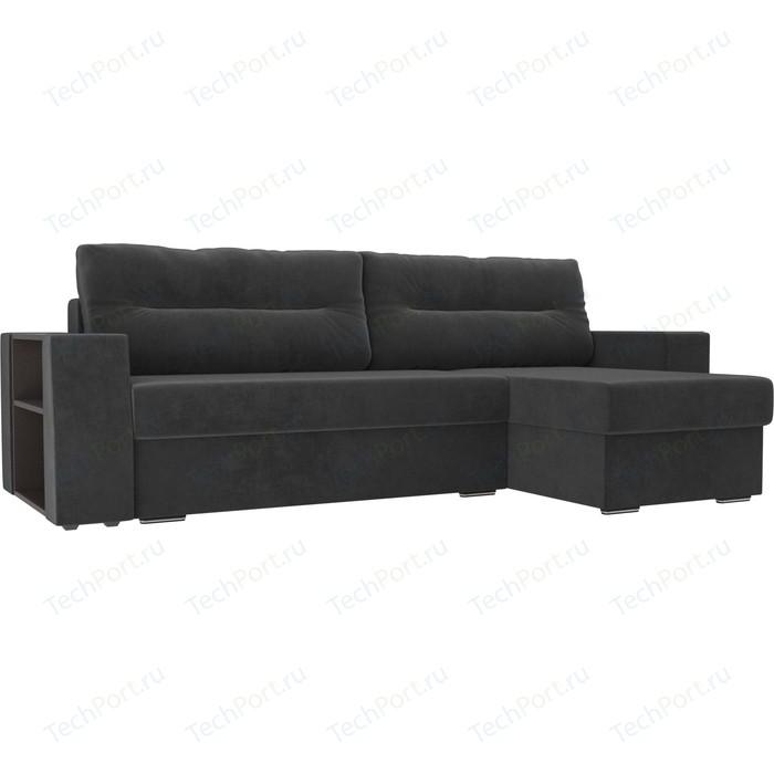 Фото - Угловой диван Лига Диванов Эридан велюр серый правый угол угловой диван лига диванов эридан велюр синий левый угол