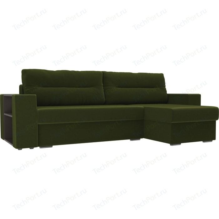 Угловой диван Лига Диванов Эридан микровельвет зеленый правый угол