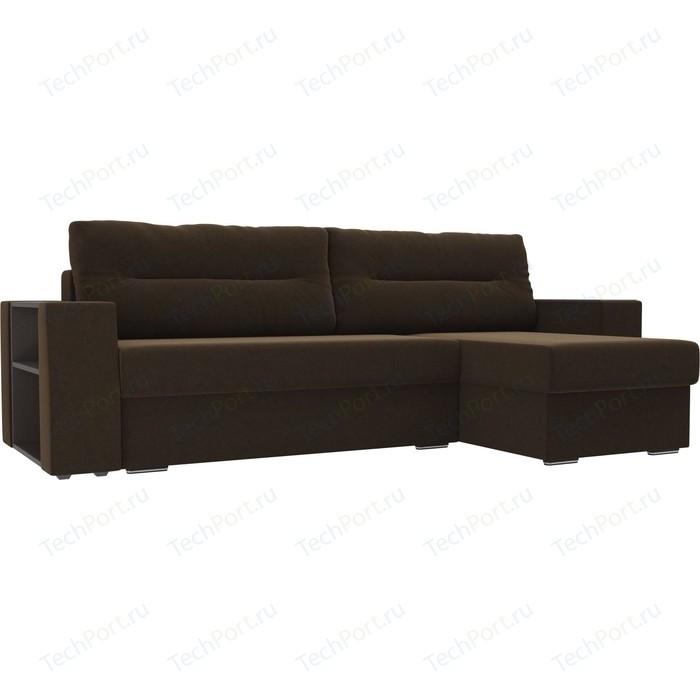 Угловой диван Лига Диванов Эридан микровельвет коричневый правый угол угловой диван лига диванов эридан экокожа коричневый правый угол