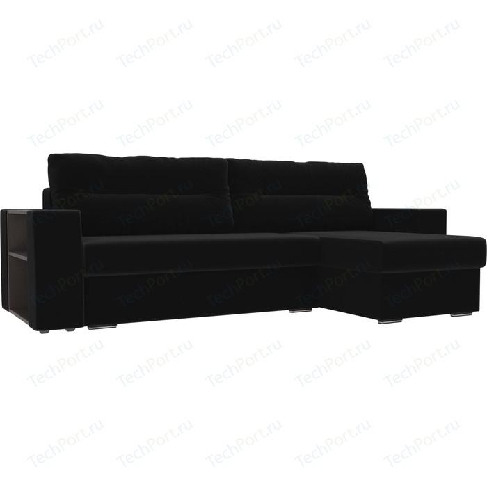 Угловой диван Лига Диванов Эридан микровельвет черный правый угол