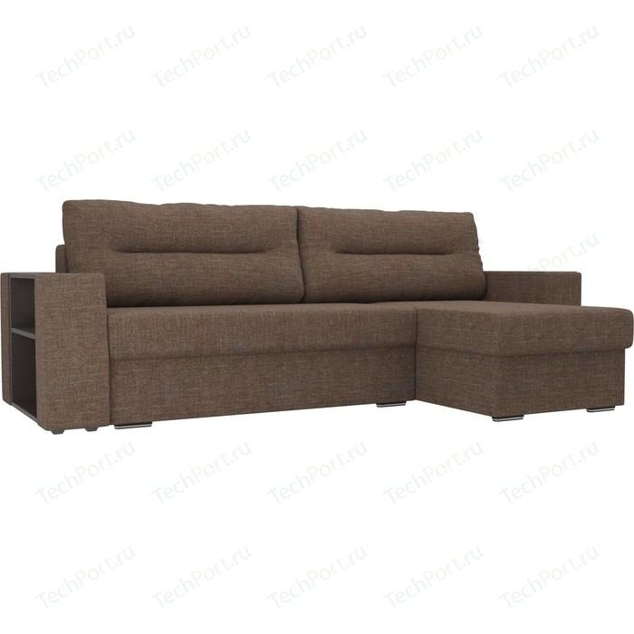 Угловой диван Лига Диванов Эридан рогожка коричневый правый угол угловой диван лига диванов эридан экокожа коричневый правый угол