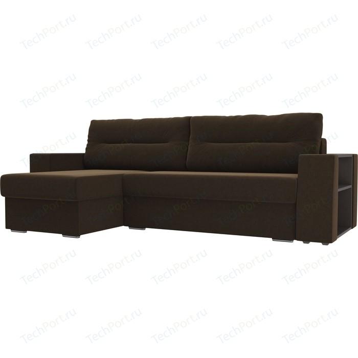 Фото - Угловой диван Лига Диванов Эридан микровельвет коричневый левый угол угловой диван лига диванов эридан велюр синий левый угол