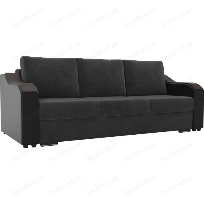 Прямой диван Лига Диванов Монако велюр серый подлокотники экокожа черные