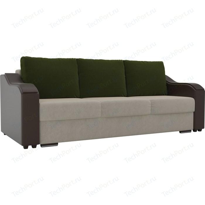 Прямой диван Лига Диванов Монако микровельвет бежевый подлокотники экокожа коричневые подушки микровельвет зеленый
