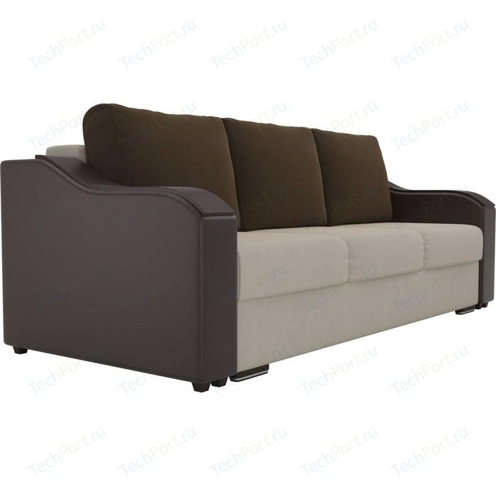 Прямой диван Лига Диванов Монако микровельвет бежевый подлокотники экокожа коричневые подушки микровельвет коричневый