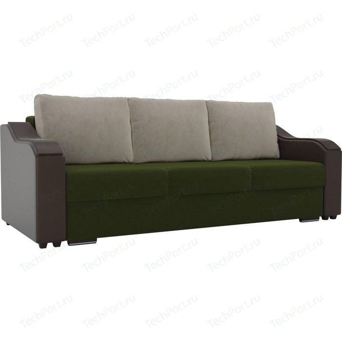 Прямой диван Лига Диванов Монако микровельвет зеленый подлокотники экокожа коричневые подушки микровельвет бежевый