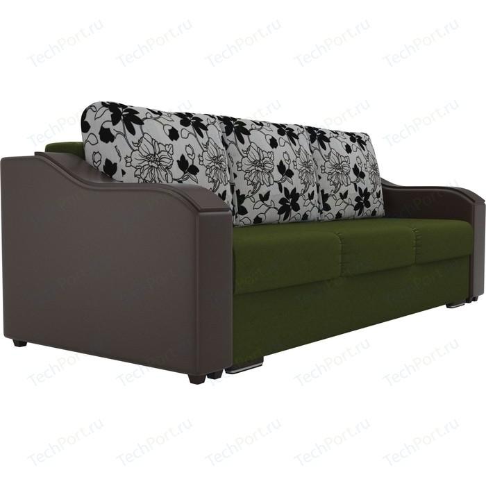 Прямой диван Лига Диванов Монако микровельвет зеленый подлокотники экокожа коричневые подушки рогожка на флоке