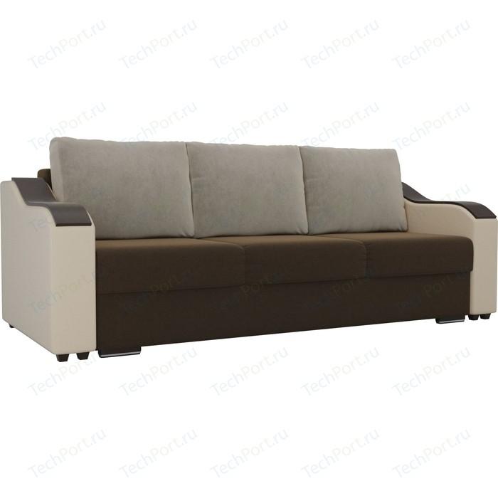 Прямой диван Лига Диванов Монако микровельвет коричневый подлокотники экокожа бежевые подушки микровельвет бежевый