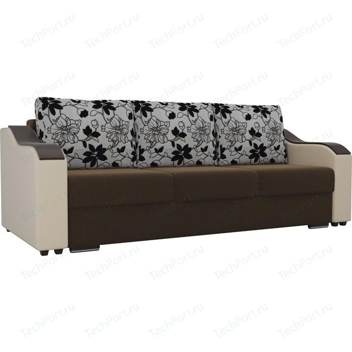 Прямой диван Лига Диванов Монако микровельвет коричневый подлокотники экокожа бежевые подушки рогожка на флоке