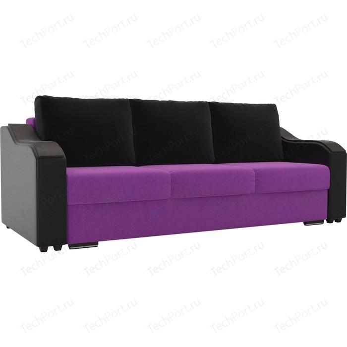 Прямой диван Лига Диванов Монако микровельвет фиолетовый подлкотники экокожа черные подушки