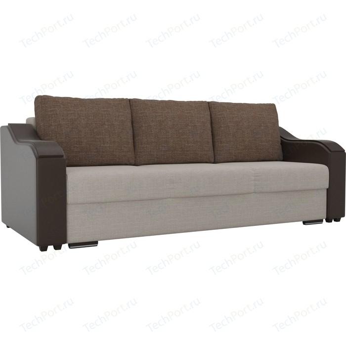 Прямой диван Лига Диванов Монако рогожка бежевый подлокотники экокожа коричневые подушки