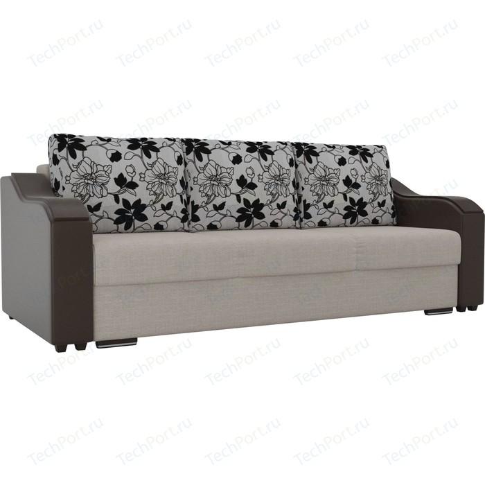 Прямой диван Лига Диванов Монако рогожка бежевый подлокотники экокожа коричневые подушки на флоке