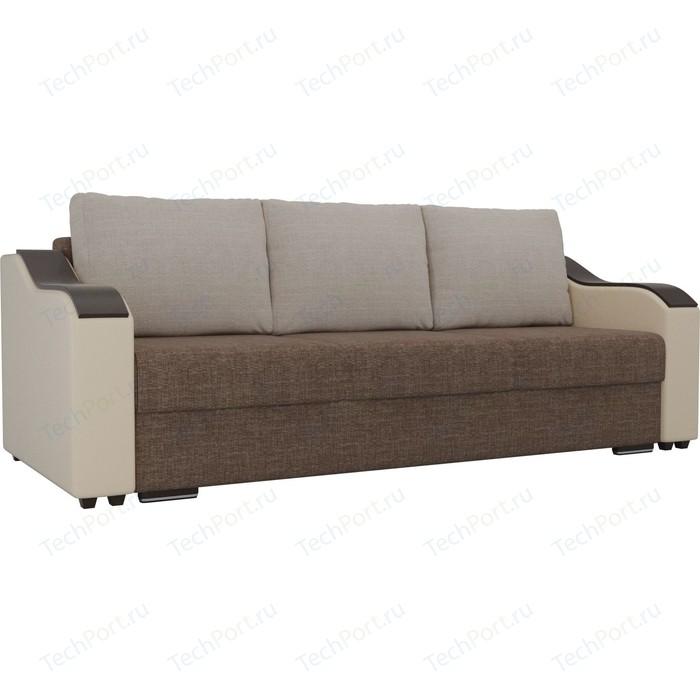 Прямой диван Лига Диванов Монако рогожка коричневый подлокотники экокожа бежевые подушки бежевая