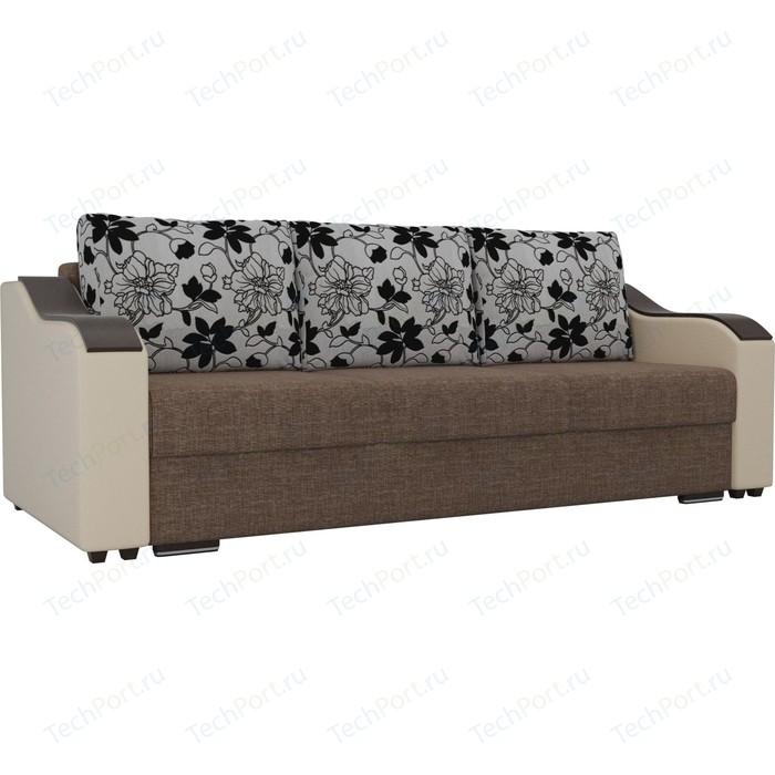 Прямой диван Лига Диванов Монако рогожка коричневый подлокотники экокожа бежевые подушки на флоке