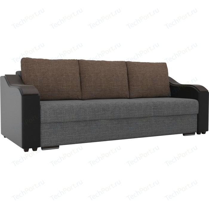 Прямой диван Лига Диванов Монако рогожка серый подлокотники экокожа черные подушки коричневая