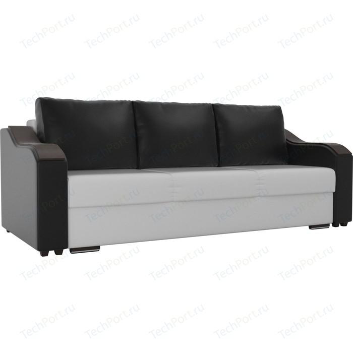 Прямой диван Лига Диванов Монако экокожа белый подлокотники черные подушки