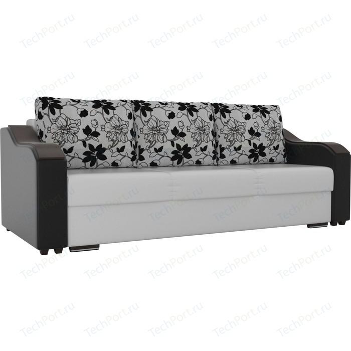 Прямой диван Лига Диванов Монако экокожа белый подлокотники черные подушки рогожка на флоке