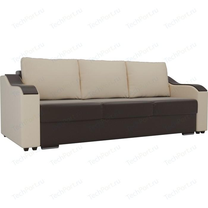 Прямой диван Лига Диванов Монако экокожа коричневый подлокотники бежевые подушки бежевые прямой диван лига диванов монако велюр коричневый подлокотники экокожа бежевые