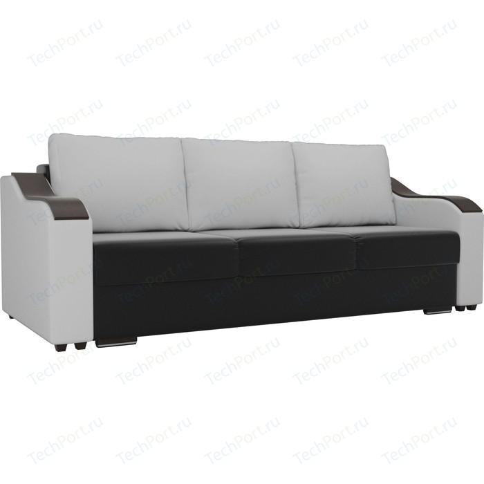 Прямой диван Лига Диванов Монако экокожа черный подлокотники белые подушки белые прямой диван лига диванов монако slide экокожа черный подлокотники белые подушки белые