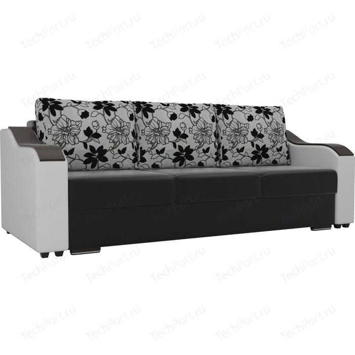 Прямой диван Лига Диванов Монако экокожа черный подлокотники белые подушки рогожка на флоке прямой диван лига диванов монако slide экокожа черный подлокотники белые подушки белые