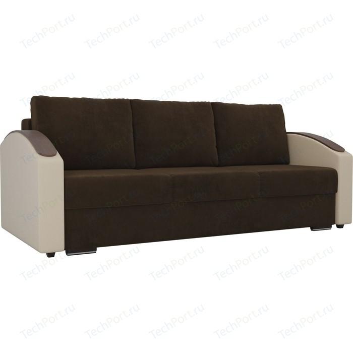 Прямой диван Лига Диванов Монако slide велюр коричневый подлокотники экокожа бежевые прямой диван лига диванов монако велюр коричневый подлокотники экокожа бежевые