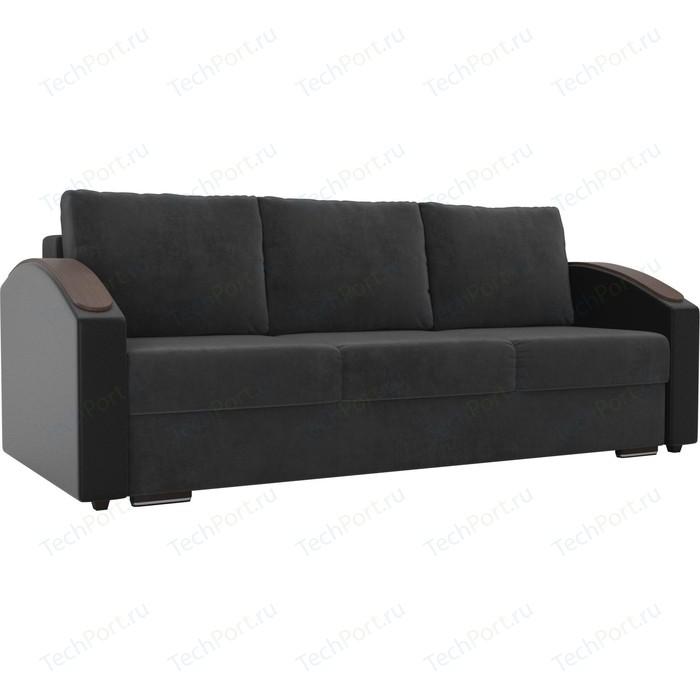 Прямой диван Лига Диванов Монако slide велюр серый подлокотники экокожа черные