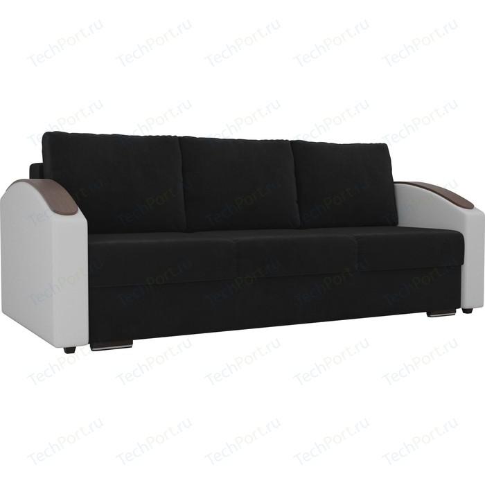 Прямой диван Лига Диванов Монако slide велюр черный подлокотники экокожа белые прямой диван лига диванов монако slide экокожа черный подлокотники белые подушки белые