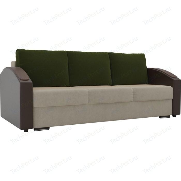 Прямой диван Лига Диванов Монако slide микровельвет бежевый подлокотники экокожа коричневые подушки микровельвет зеленый
