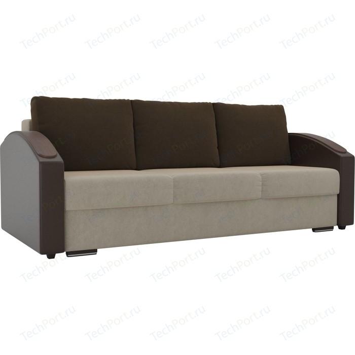 Прямой диван Лига Диванов Монако slide микровельвет бежевый подлокотники экокожа коричневые подушки коричневый