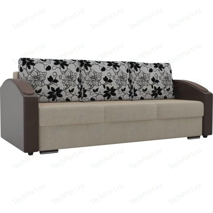 Прямой диван Лига Диванов Монако slide микровельвет бежевый подлокотники экокожа коричневые подушки рогожка на флоке